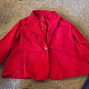 Red blazer, plus size 2X, ruched sleeves.